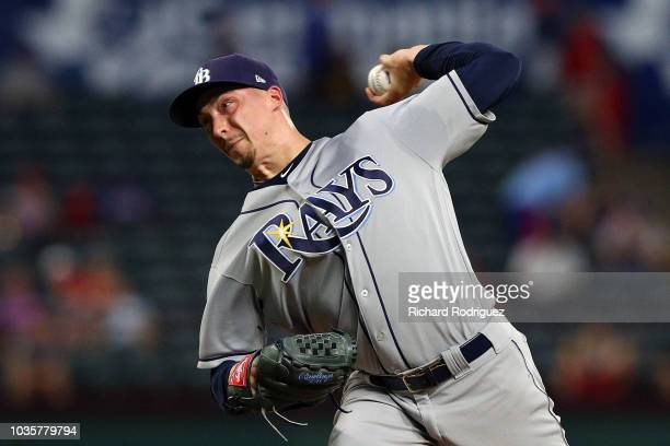 Blake Snell of the Tampa Bay Rays pitches against the Texas Rangers in the first inning at Globe Life Park in Arlington on September 18 2018 in...