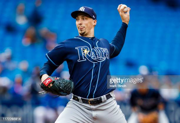 Blake Snell of the Tampa Bay Rays pitches against the Toronto Blue Jays in the first inning at the Rogers Centre on September 29, 2019 in Toronto,...
