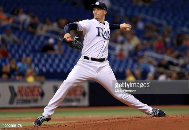 Blake Snell of the Tampa Bay Rays pitches during a game against the Kansas City Royals at Tropicana Field on August 21 2018 in St Petersburg Florida