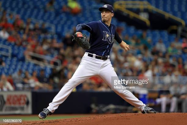Blake Snell of the Tampa Bay Rays pitches during a game against the Cleveland Indians at Tropicana Field on September 12 2018 in St Petersburg Florida