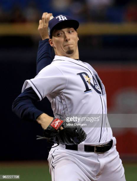Blake Snell of the Tampa Bay Rays pitches during a game against the Boston Red Sox at Tropicana Field on May 24 2018 in St Petersburg Florida