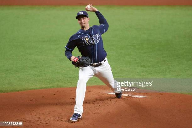 Blake Snell of the Tampa Bay Rays pitches during Game 1 of the Wild Card Series between the Toronto Blue Jays and the Tampa Bay Rays at Tropicana...
