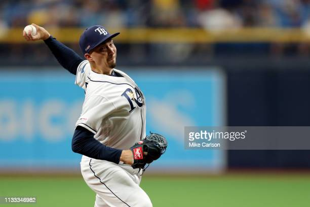 Blake Snell of the Tampa Bay Rays pitches during the game between the Houston Astros and the Tampa Bay Rays at Tropicana Field on Thursday March 28...