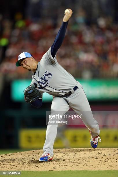 Blake Snell of the Tampa Bay Rays pitches during the the 89th MLB AllStar Game at Nationals Park on Tuesday July 17 2018 in Washington DC