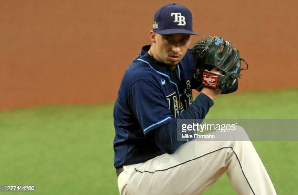 Blake Snell of the Tampa Bay Rays pitches during the Wild Card Round Game One against the Toronto Blue Jays at Tropicana Field on September 29, 2020...