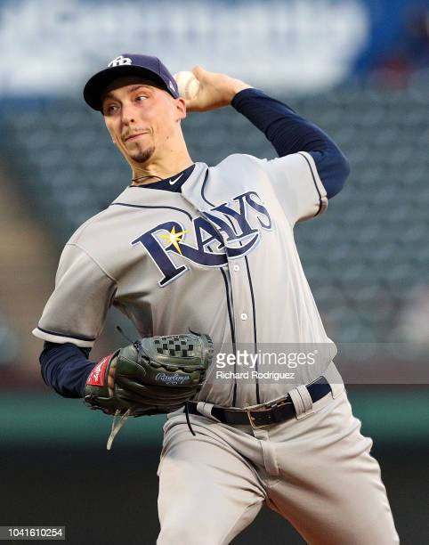 Blake Snell of the Tampa Bay Rays pitches in the first inning against the Texas Rangers at Globe Life Park in Arlington on September 18 2018 in...