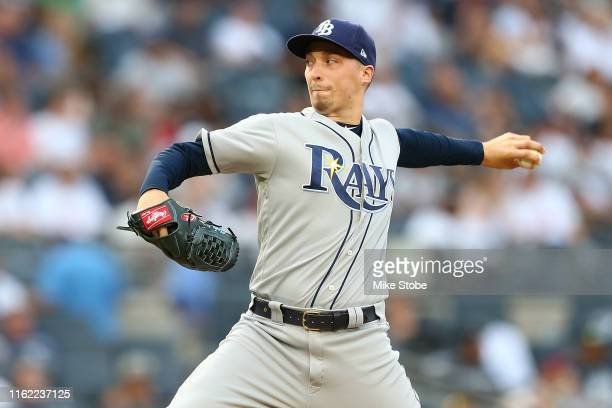 Blake Snell of the Tampa Bay Rays pitches in the first inning against the New York Yankees at Yankee Stadium on July 15, 2019 in New York City.