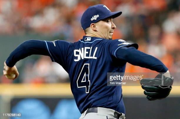 Blake Snell of the Tampa Bay Rays pitches in the first inning against the Houston Astros in Game 2 of the ALDS at Minute Maid Park on October 05 2019...