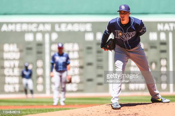 Blake Snell of the Tampa Bay Rays pitches in the first inning of a game against the Boston Red Sox at Fenway Park on June 9 2019 in Boston...
