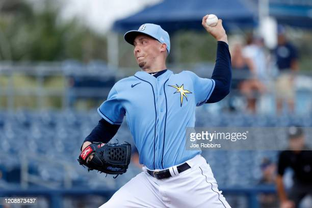 Blake Snell of the Tampa Bay Rays pitches in the first inning of a Grapefruit League spring training game against the Minnesota Twins at Charlotte...