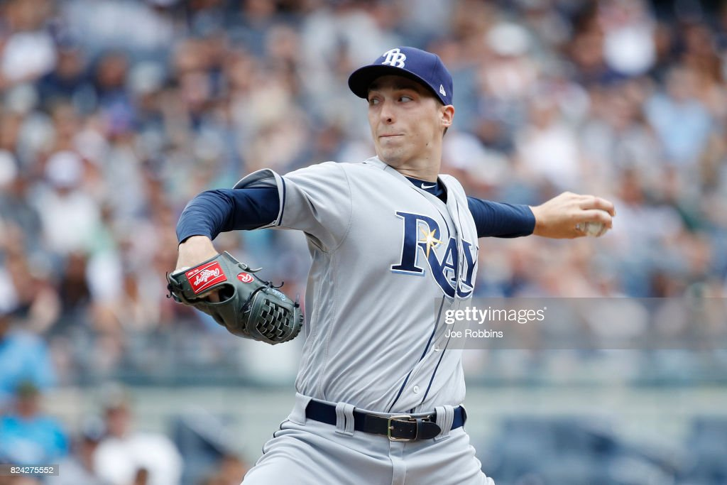 Blake Snell #4 of the Tampa Bay Rays pitches in the first inning of a game against the New York Yankees at Yankee Stadium on July 29, 2017 in the Bronx borough of New York City.
