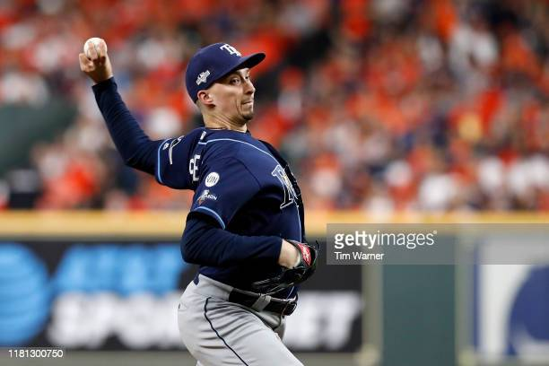 Blake Snell of the Tampa Bay Rays pitches in the fourth inning against the Houston Astros during game five of the American League Divisional Series...
