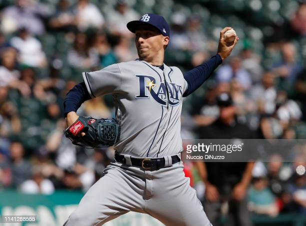Blake Snell of the Tampa Bay Rays pitches in the second inning during the game against the Chicago White Sox at Guaranteed Rate Field on April 08...