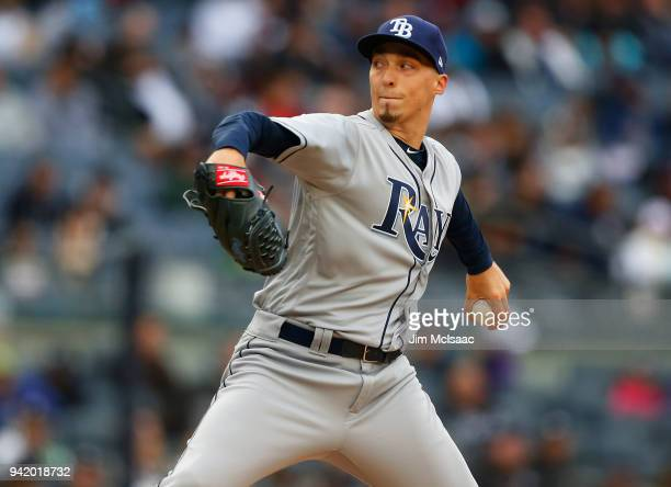 Blake Snell of the Tampa Bay Rays pitches in the second inning against the New York Yankees at Yankee Stadium on April 4 2018 in the Bronx borough of...