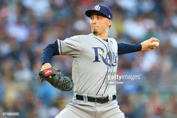 Blake Snell of the Tampa Bay Rays pitches in the second inning against the New York Yankees at Yankee Stadium on June 14 2018 in the Bronx borough of...