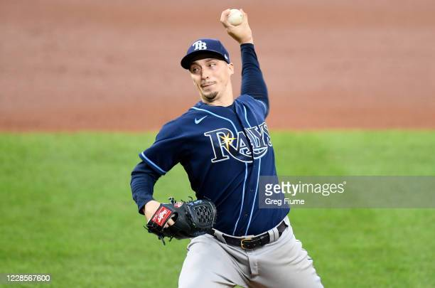 Blake Snell of the Tampa Bay Rays pitches in the sixth inning against the Baltimore Orioles at Oriole Park at Camden Yards on September 17, 2020 in...