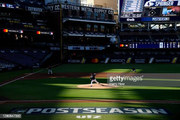 Blake Snell of the Tampa Bay Rays pitches to George Springer of the Houston Astros during the third inning in Game Six of the American League...
