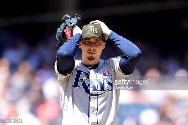 Blake Snell of the Tampa Bay Rays reacts against the New York Yankees at Yankee Stadium on May 18 2019 in New York City