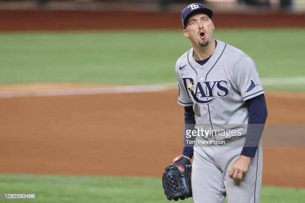 Blake Snell of the Tampa Bay Rays reacts as he is being taken out of the game against the Los Angeles Dodgers during the sixth inning in Game Six of...