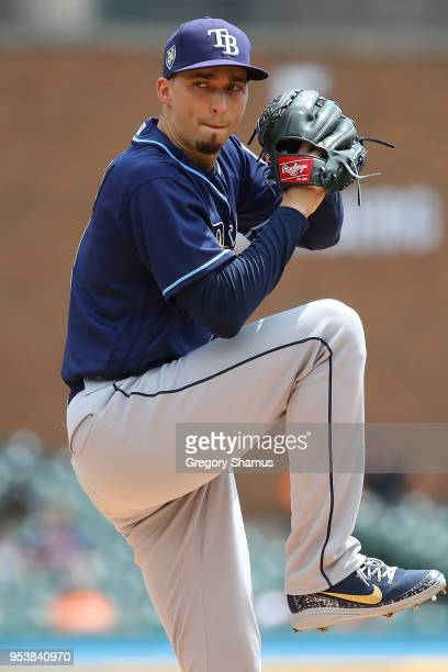 Blake Snell of the Tampa Bay Rays throws a first inning pitch while playing the Detroit Tigers at Comerica Park on May 2 2018 in Detroit Michigan