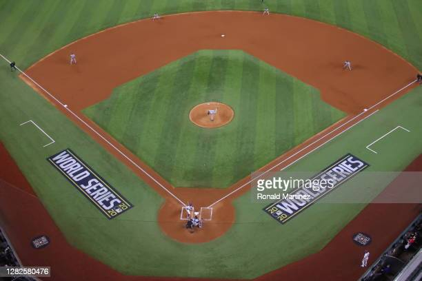 Blake Snell of the Tampa Bay Rays throws a pitch against the Los Angeles Dodgers during the first inning in Game Six of the 2020 MLB World Series at...