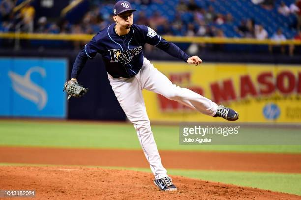 Blake Snell of the Tampa Bay Rays throws a pitch in the fifth inning against the Toronto Blue Jays on September 29 2018 at Tropicana Field in St...