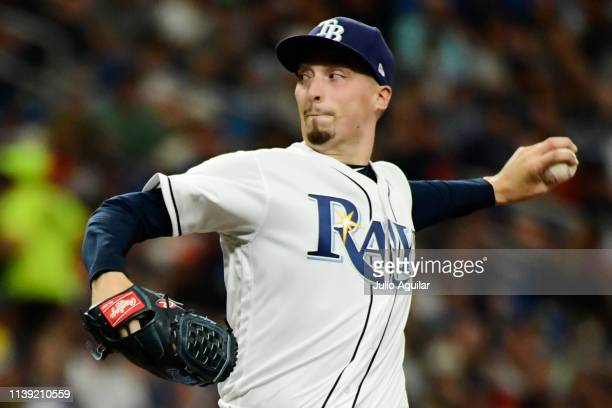 Blake Snell of the Tampa Bay Rays throws a pitch in the fifth inning against the Houston Astros during Opening Day at Tropicana Field on March 28...