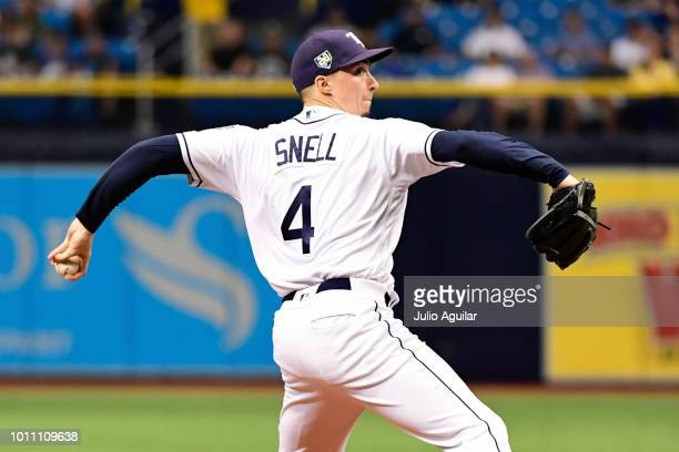 Blake Snell of the Tampa Bay Rays throws a pitch in the first inning against the Chicago White Sox on August 4 2018 at Tropicana Field in St...