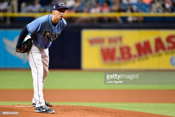 Blake Snell of the Tampa Bay Rays throws a pitch in the first inning against the Houston Astros on July 1 2018 at Tropicana Field in St Petersburg...
