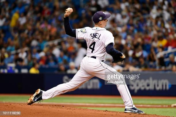 Blake Snell of the Tampa Bay Rays throws a pitch in the second inning against the Chicago White Sox on August 4 2018 at Tropicana Field in St...