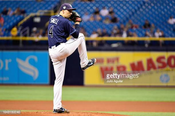 Blake Snell of the Tampa Bay Rays throws a pitch in the second inning against the Toronto Blue Jays on September 29 2018 at Tropicana Field in St...