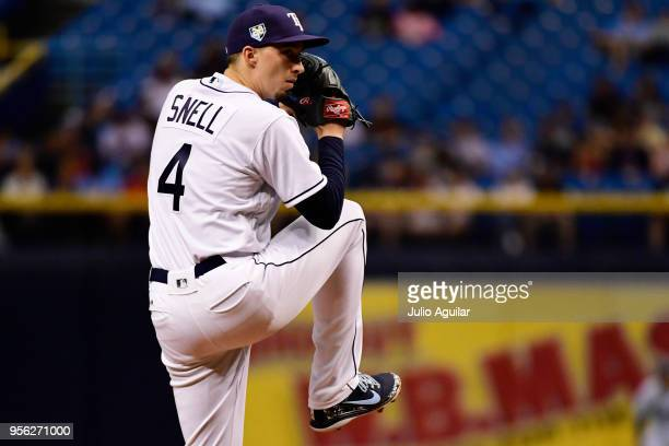 Blake Snell of the Tampa Bay Rays throws a pitch in the second inning against the Atlanta Braves on May 8 2018 at Tropicana Field in St Petersburg...