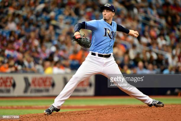 Blake Snell of the Tampa Bay Rays throws a pitch in the seventh inning against the Houston Astros on July 1 2018 at Tropicana Field in St Petersburg...