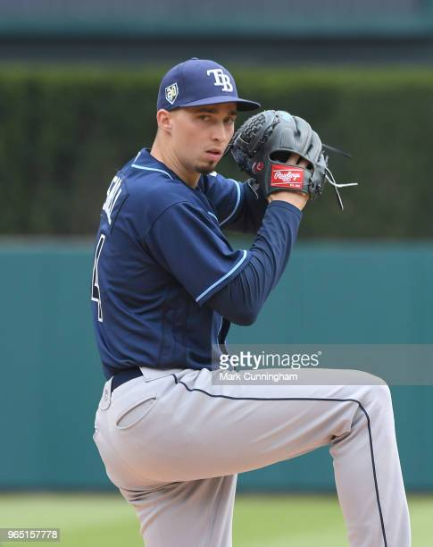 Blake Snell of the Tampa Bay Rays throws a warmup pitch during the game against the Detroit Tigers at Comerica Park on May 2 2018 in Detroit Michigan...