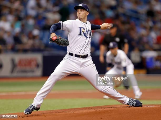 Blake Snell of the Tampa Bay Rays throws in the first inning of a baseball game against the Washington Nationals at Tropicana Field on June 25 2018...