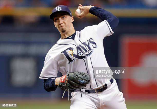 Blake Snell of the Tampa Bay Rays throws in the second inning of a baseball game against the Washington Nationals at Tropicana Field on June 25 2018...
