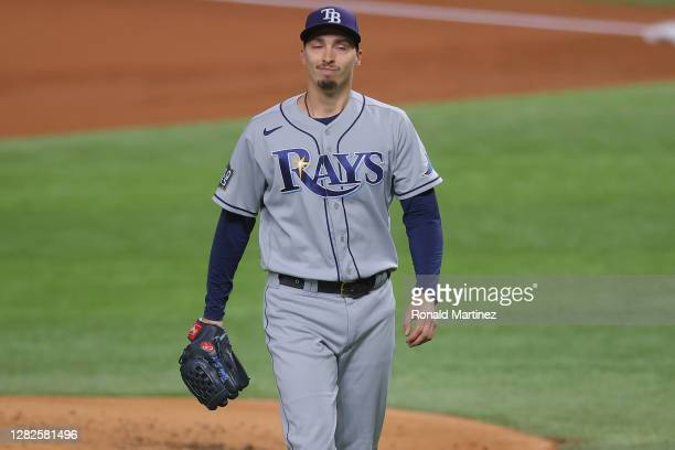 Blake Snell of the Tampa Bay Rays walks back to the dugout after retiring the side against the Los Angeles Dodgers during the first inning in Game...