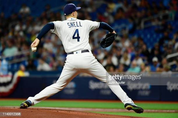 Blake Snell of the Tampa Bay Rays winds up to throw a pitch in the first inning against the Colorado Rockies at Tropicana Field on April 02 2019 in...