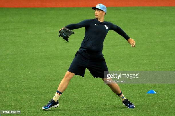 Blake Snell of the Tampa Bay Rays works out during their Summer Workout at Tropicana Field on July 03 2020 in St Petersburg Florida