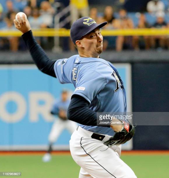 Blake Snell of the Tampa Bay Raysdelivers a pitch during the top of the first inning against the Texas Rangers of their game at Tropicana Field on...