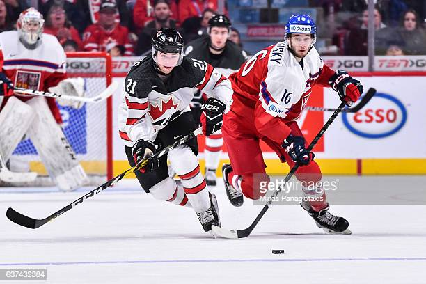 Blake Speers of Team Canada and Daniel Kurovsky of Team Czech Republic skate after the puck during the 2017 IIHF World Junior Championship...