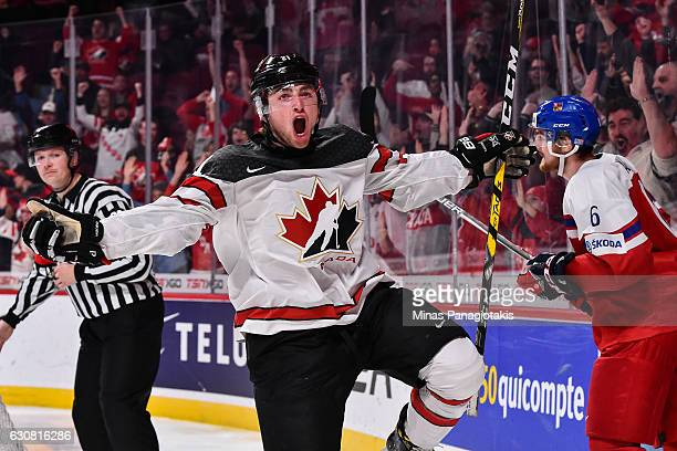 Blake Speers of Team Canada celebrates his goal in the second period during the 2017 IIHF World Junior Championship quarterfinal game against Team...