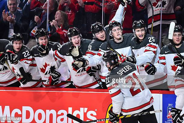 Blake Speers of Team Canada celebrates his goal with teammates on the bench during the 2017 IIHF World Junior Championship quarterfinal game against...