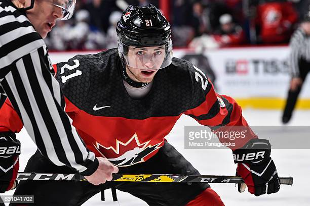 Blake Speers of Team Canada prepares to take a faceoff during the 2017 IIHF World Junior Championship gold medal game against Team United States at...