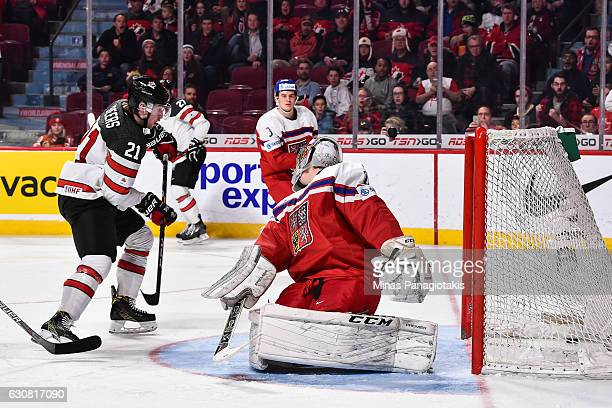 Blake Speers of Team Canada scores a second period goal on Jakub Skarek of Team Czech Republic during the 2017 IIHF World Junior Championship...