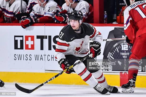 Blake Speers of Team Canada skates during the 2017 IIHF World Junior Championship quarterfinal game against Team Czech Republic at the Bell Centre on...