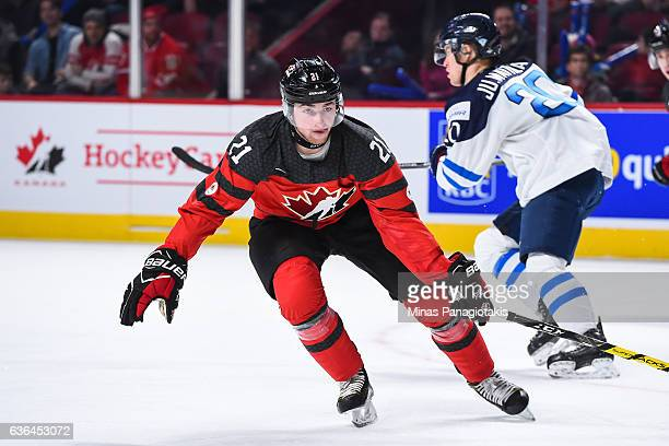 Blake Speers of Team Canada skates during the IIHF exhibition game against Team Finland at the Bell Centre on December 19 2016 in Montreal Quebec...