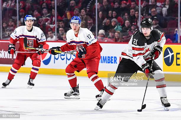 Blake Speers of Team Canada skates the puck during the 2017 IIHF World Junior Championship quarterfinal game against Team Czech Republic at the Bell...