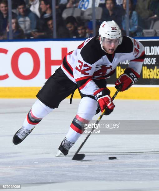 Blake Speers of the Albany Devils skates up ice against the Toronto Marlies during game 4 action in the Division Semifinal of the Calder Cup Playoffs...