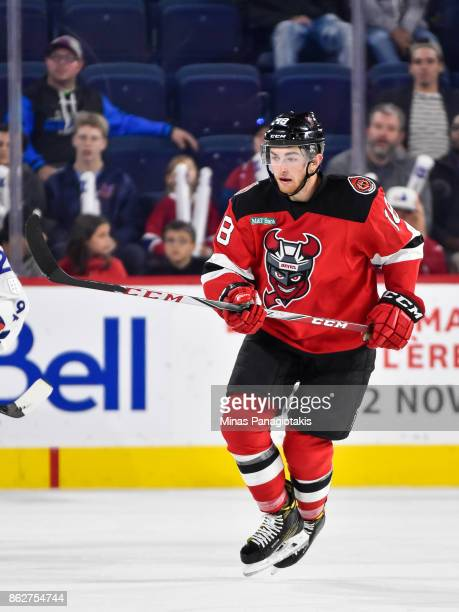 Blake Speers of the Binghamton Devils skates against the Laval Rocket during the AHL game at Place Bell on October 13 2017 in Laval Quebec Canada The...